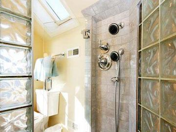 Glass Block Shower in Master Bedroom