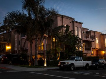 Hermosa Beach townhome rental - Private Corner Location. Photo at dusk. 325 steps (3 blocks) to the sand.