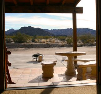 Joshua Tree cabin rental - View of Joshua Tree National Park from bedroom.