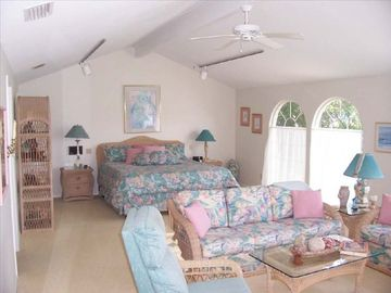 Bright and airy master bedroom on 1st floor & sitting room overlooking canal