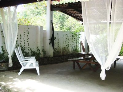 Esterillos villa rental - the perfect dining spot...pool on one side...beach on the other...