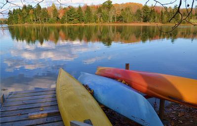4 Kayaks at water's edge for your use