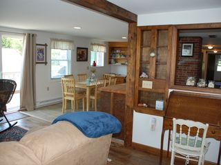 Harpswell house photo - Living room into the kitchen area.
