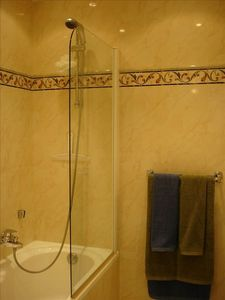 Marble shower and full size bath tub.
