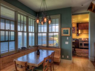 Pemaquid Point cottage photo - The dining room with incredible views of the harbor and bay