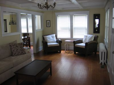 Living Room with Hardwood Floors and new furniture