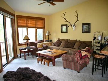 Steamboat Springs townhome rental - Living Room with Mountain Views - The couch is very comfortable!