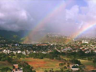 Relax on the lanai and enjoy frequent rainbows like this one over Pololu Valley