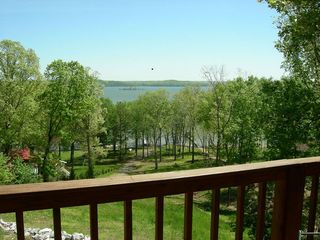 Kentucky Lake house photo - View of the lake and boat slip from the upper deck.