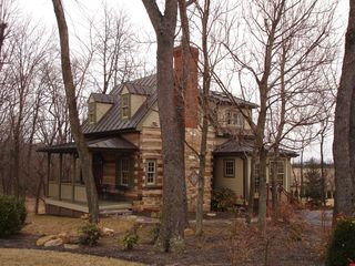 Thurmont house photo - Southwest corner/Winter/ with front setting porch and massive chimney