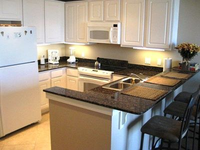 Granite countertops and a well-stocked kitchen enhance your stay!