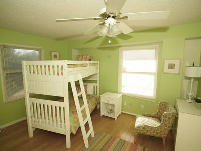Downstairs Kids Bedroom has TV, Bunk Beds, Ceiling Fan and Sleeps Two
