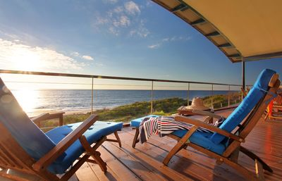 High-impact ocean views from this stunning beach-side getaway.