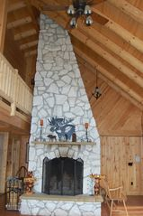 Ludlow house photo - Two story Vermont Marble fireplace; plenty of wood