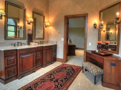 Master bathroom with his and hers rooms as well as office/den