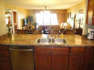 Indian Rocks Beach condo photo - Kitchen also with direct view to Gulf from counter - dining room