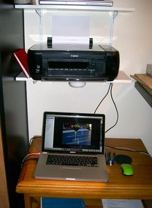 Shelf & bench for laptop