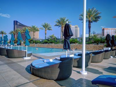 The pool at Trump is a fine-tuned maestro-Mediterranean cabana style.
