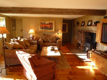 Cozy Family Room with Wood Stove & TV