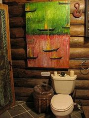 Cooperstown cabin photo - bathroom with original art, heated slate floor.