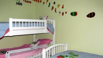 Kids Room With 5 Twin Mattresses with Full Bathroom, Balcony, flat screen, DVD