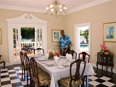 Dining in ones own villa with attentive staff