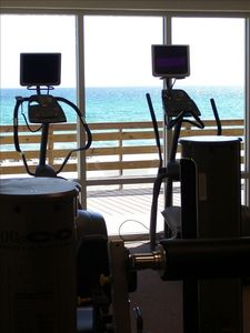 Exercise room with state of the art equipment and unbeatable views.