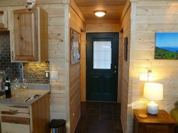 Towards back of cabin, bathroom & laundry/utility room