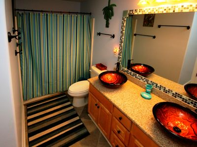 Master bath with vessel sinks