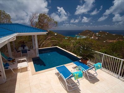 Chocolate Hole villa rental - Pool View with Hart Bay in the Background