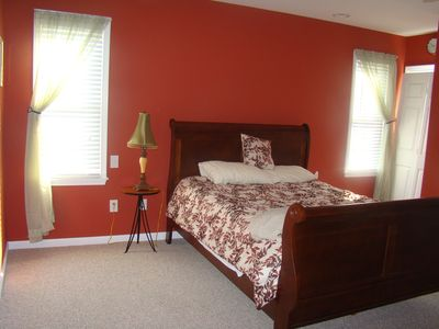 Main BR ~ Queen Sleigh Bed & Dresser ~ Private Balcony & Bath ~ double closets