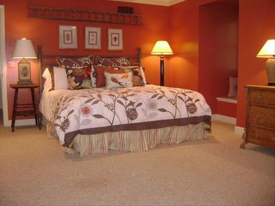 Upstairs king bed with twin beds, trundles and newly remodeled private bath
