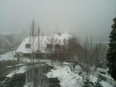 View of the Village and Lake Arrowhead from the Master Bedroom on a snowy day.
