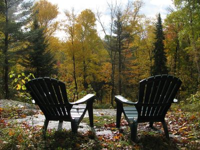Paul Smiths chalet rental - A private morning coffee spot with a view.
