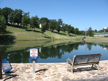 Fishing from our stocked pond or our private lake access on Lake Taneycomo