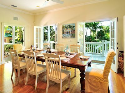 With the French doors open, formal dining doesn't seem so formal.