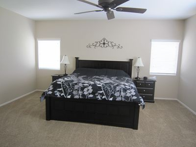 Maricopa house rental - Master Bedroom has a king size bed, chaise lounge and TV...Perfect!!