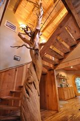 Coos Bay house photo - 800 year old Juniper Tree Spiral Stair Case with myrtle wood treads