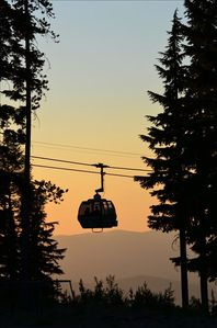 Sunset from the Gondola up Silver Mountain.  Must see!