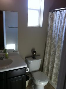 Full upstairs guest bathroom with bathtub!