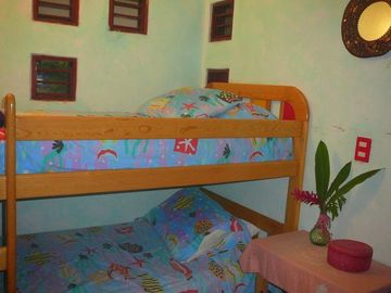 Bunkroom for 2 older kids, teens, or agile adults. Separate entrance & bath.