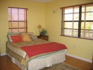 Islamorada house photo - Guest bedroom with queen bed, lots of windows and trees all around
