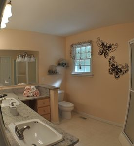 Maggie Valley house rental - Master Bathroom (Shower) and Double Sinks