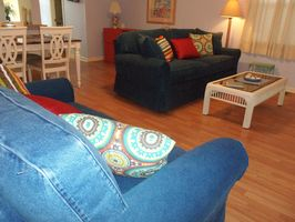 New comfy bluejean couch bed and loveseat, and dining set.