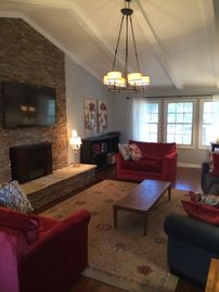 Show Low house rental - Spacious living room with 60 inch TV and corner game table
