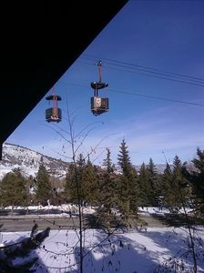 Winter picture of gondola taken from our balcony