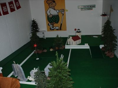 Putt-putt golf in the basement.
