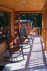 Burns Lake cabin photo - Rockers and porch swing to read and look out at the lake