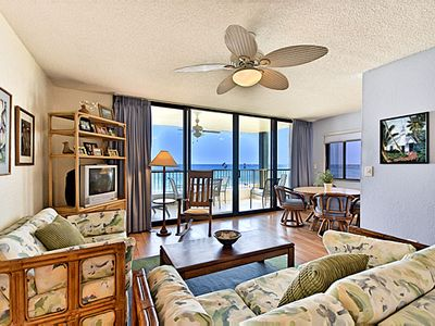 Kailua Kona condo rental - Living area and view from VRBO #386170 - our other 2 bed, 2 bath at Kona Reef!