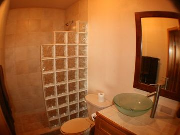 Bathroom 2 with large tile shower